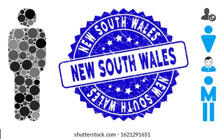 Mosaic standing man icon and corroded stamp seal with New South Wales phrase. Mosaic vector is formed with standing man icon and with scattered circle spots. New South Wales seal uses blue color,