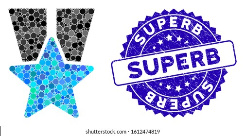 Mosaic star medal icon and corroded stamp seal with Superb caption. Mosaic vector is designed with star medal icon and with scattered spheric spots. Superb stamp uses blue color,