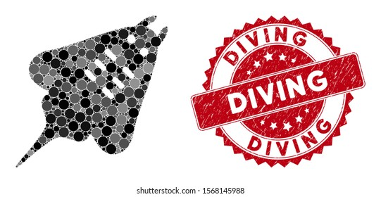 Mosaic stingray fish and grunge stamp seal with Diving text. Mosaic vector is designed with stingray fish icon and with randomized spheric items. Diving stamp seal uses red color, and grunge surface.