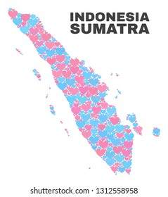 Mosaic Sumatra map of love hearts in pink and blue colors isolated on a white background. Lovely heart collage in shape of Sumatra map. Abstract design for Valentine decoration.