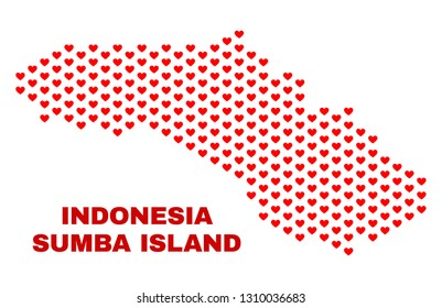 Mosaic Sumba Island map of heart hearts in red color isolated on a white background. Regular red heart pattern in shape of Sumba Island map. Abstract design for Valentine decoration.