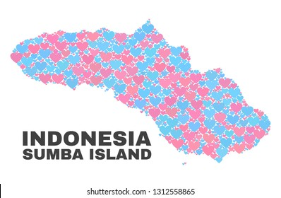 Mosaic Sumba Island map of valentine hearts in pink and blue colors isolated on a white background. Lovely heart collage in shape of Sumba Island map. Abstract design for Valentine illustrations.