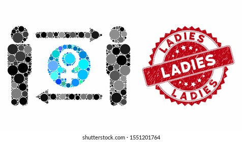 Mosaic swingers exchange female and rubber stamp seal with Ladies text. Mosaic vector is composed with swingers exchange female icon and with random round spots. Ladies stamp seal uses red color,