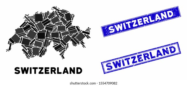 Mosaic Switzerland map and rectangular seal stamps. Flat vector Switzerland map mosaic of random rotated rectangular items. Blue caption rubber seals with rubber texture.