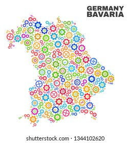 Mosaic technical Bavaria Land map isolated on a white background. Vector geographic abstraction in different colors. Mosaic of Bavaria Land map combined of random multi-colored wheel items.