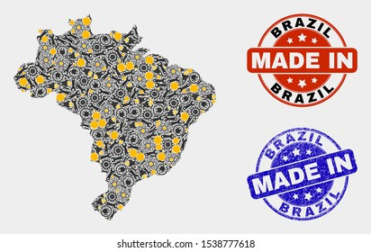 Mosaic technical Brazil map and blue Made In scratched seal. Vector geographic abstraction model for technical, or patriotic templates. Mosaic of Brazil map combined of scattered cogwheel, wrenches,