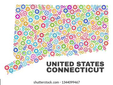 Mosaic technical Connecticut State map isolated on a white background. Vector geographic abstraction in different colors. Mosaic of Connecticut State map combined of scattered bright wheel elements.