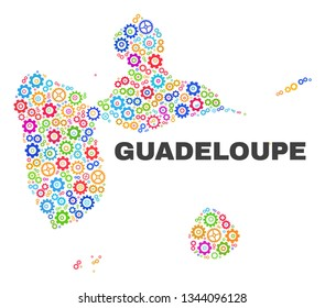 Mosaic technical Guadeloupe map isolated on a white background. Vector geographic abstraction in different colors. Mosaic of Guadeloupe map designed from random multi-colored cog items.