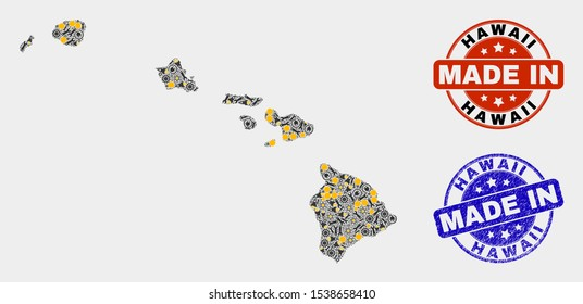 Mosaic technical Hawaii State map and blue Made In textured seal. Vector geographic abstraction model for service, or political purposes. Mosaic of Hawaii State map combined of scattered cogwheel,