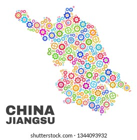 Mosaic technical Jiangsu Province map isolated on a white background. Vector geographic abstraction in different colors. Mosaic of Jiangsu Province map combined of scattered bright cogwheel items.