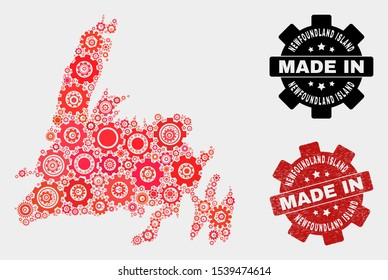 Mosaic technical Newfoundland Island map and scratched stamp. Vector geographic abstraction in red colors. Mosaic of Newfoundland Island map combined of random cog elements.