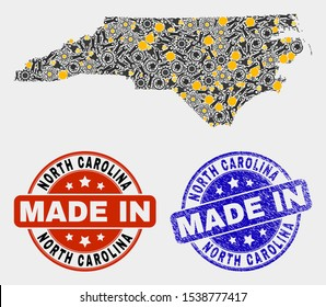 Mosaic technical North Carolina State map and blue Made In grunge stamp. Vector geographic abstraction model for service, or patriotic templates.