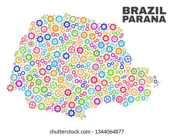 Mosaic technical Parana State map isolated on a white background. Vector geographic abstraction in different colors. Mosaic of Parana State map combined of random multi-colored gearwheel elements.
