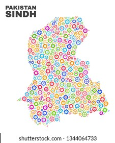 Mosaic technical Sindh Province map isolated on a white background. Vector geographic abstraction in different colors. Mosaic of Sindh Province map composed from scattered multi-colored cog items.