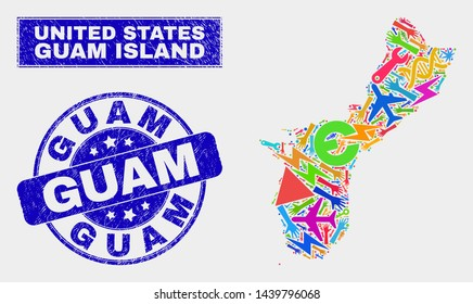 Mosaic technology Guam Island map and Guam seal stamp. Guam Island map collage constructed with scattered bright tools, hands, service icons. Blue round Guam seal stamp with unclean texture.