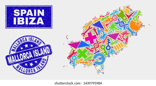 Mosaic technology Ibiza Island map and Mallorca Island seal stamp. Ibiza Island map collage made with randomized colorful tools, hands, service symbols.