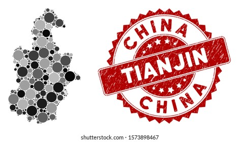 Mosaic Tianjin City map and circle rubber print. Flat vector Tianjin City map mosaic of randomized spheric items. Red rubber stamp with scratched design.