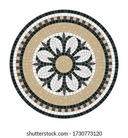 Mosaic tile decoration circle with central floral motif isolated on white background. Classic Roman mosaic.  Ideal for floor and wall decoration. Each element is isolated and edited. Vector 10 EPS.