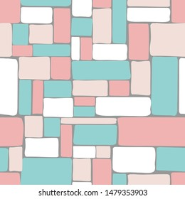 Mosaic tile vector seamless pattern in pastel colors.  Hand drawn tile pattern in coral, blush, pink, and teal.