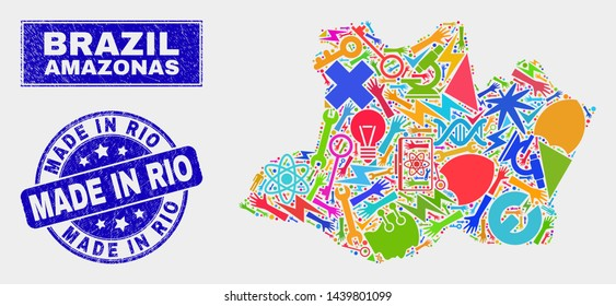 Mosaic tools Amazonas State map and Made in Rio stamp. Amazonas State map collage composed with scattered colored tools, hands, service elements. Blue rounded Made in Rio seal with dirty texture.