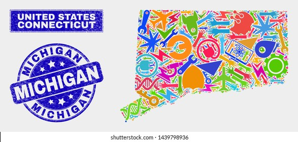 Mosaic tools Connecticut State map and Michigan seal. Connecticut State map collage formed with randomized colorful tools, palms, security elements. Blue round Michigan seal stamp with grunge texture.
