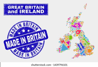 Mosaic tools Great Britain and Ireland map and Made in Britain watermark. Great Britain and Ireland map collage made with scattered colorful equipment, palms, service symbols.