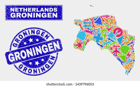 Mosaic tools Groningen Province map and Groningen seal. Groningen Province map collage created with random colorful equipment, palms, service items. Blue rounded Groningen seal with dirty texture.