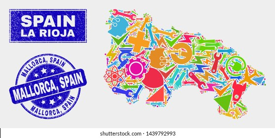 Mosaic tools La Rioja of Spain map and Mallorca, Spain watermark. La Rioja of Spain map collage made with random colorful tools, hands, industry elements. Blue rounded Mallorca,