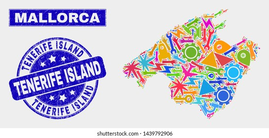 Mosaic tools Mallorca map and Tenerife Island seal stamp. Mallorca map collage made with scattered colored tools, palms, industry icons. Blue rounded Tenerife Island seal stamp with grunge texture.