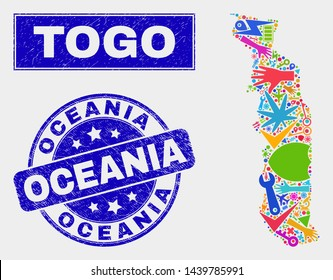 Mosaic tools Togo map and Oceania seal stamp. Togo map collage constructed with scattered bright tools, palms, industrial items. Blue rounded Oceania seal with scratched texture.