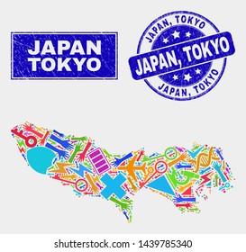 Mosaic tools Tokyo Prefecture map and Japan, Tokyo seal stamp. Tokyo Prefecture map collage made with random bright equipment, palms, service symbols. Blue round Japan,