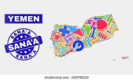 Mosaic tools Yemen map and Sana'A seal stamp. Yemen map collage formed with scattered bright tools, hands, production items. Blue rounded Sana'A seal stamp with distress texture.