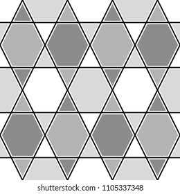 Mosaic. Triangles, hexagons ornament. Grid background. Ethnic tiles motif. Geometric grate wallpaper. Parquet backdrop. Digital paper, page fills, web design, textile print. Seamless vector pattern.
