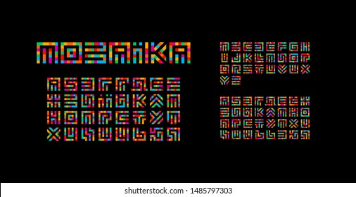 Mosaic ukrainian, english and russian alphabet. Maze typography design. Creative art style vector latin letters from squares.
