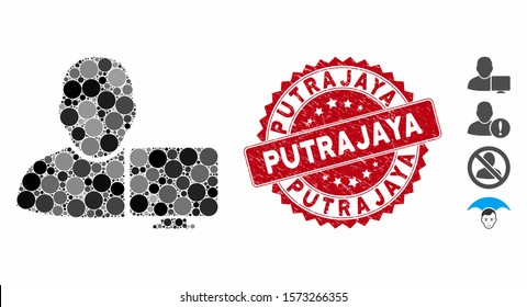 Mosaic user computer icon and grunge stamp watermark with Putrajaya caption. Mosaic vector is designed with user computer icon and with scattered round items. Putrajaya stamp seal uses red color,