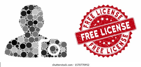 Mosaic user photo and grunge stamp seal with Free License caption. Mosaic vector is composed with user photo icon and with random spheric items. Free License stamp uses red color,