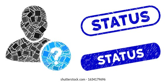 Mosaic user status and grunge stamp seals with Status phrase. Mosaic vector user status is composed with randomized rectangles. Status stamp seals use blue color, and have round rectangle shape.