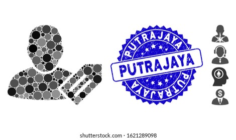 Mosaic user tag icon and distressed stamp seal with Putrajaya text. Mosaic vector is formed with user tag pictogram and with random circle elements. Putrajaya stamp seal uses blue color,