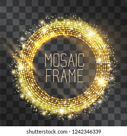 Mosaic vector golden neon light effect circle frame with hazy flares. Magical glowing glass tile of shining stardust sparkles, luxury illumination. Energy ring flow in motion. Fashionable design.