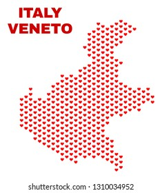 Mosaic Veneto region map of heart hearts in red color isolated on a white background. Regular red heart pattern in shape of Veneto region map. Abstract design for Valentine illustrations.