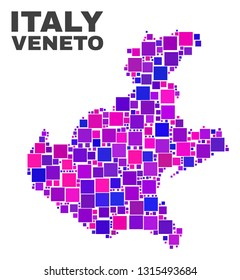Mosaic Veneto region map isolated on a white background. Vector geographic abstraction in pink and violet colors. Mosaic of Veneto region map combined of scattered square elements.