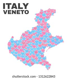 Mosaic Veneto region map of love hearts in pink and blue colors isolated on a white background. Lovely heart collage in shape of Veneto region map. Abstract design for Valentine illustrations.