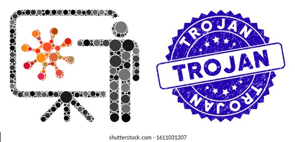 Mosaic virus report icon and grunge stamp seal with Trojan phrase. Mosaic vector is created with virus report pictogram and with randomized spheric elements. Trojan stamp uses blue color,
