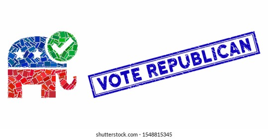 Mosaic vote republican and rubber stamp seal with Vote Republican text. Mosaic vector vote republican is designed with randomized rectangles. Vote Republican stamp seal uses blue color.