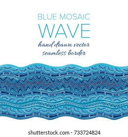 Mosaic wave seamless vector border in colors of blue. Hand drawn graphic ornament for print and interior design. Sea or ocean colorful wavy element in doodle style