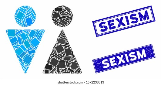 Mosaic WC persons icon and rectangle Sexism stamps. Flat vector WC persons mosaic pictogram of randomized rotated rectangular items. Blue Sexism rubber stamps with rubber surface.