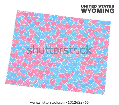 Mosaic Wyoming State Map Lovely Hearts Stock Vector (Royalty Free ...