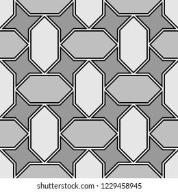 Mosaics background. Tiles motif. Ethnic ornament. Folk image. Tribal wallpaper. Ancient arabesque backdrop. Geomrteical figures pattern. Digital paper, web design, textile print. Seamless vector.