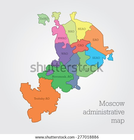 Moscow Administrative Map Stock Vector 277018886 - Shutterstock