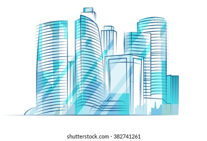 Moscow City Business Center. Abstract vector illustration. Blue shiny skyscrapers. City skyline.